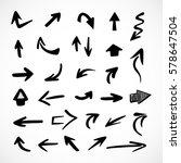 hand drawn arrows  vector set | Shutterstock .eps vector #578647504