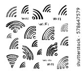 hand drawn sketch wi fi icon... | Shutterstock .eps vector #578647579