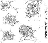 spider hand drawn net set.... | Shutterstock .eps vector #578648017