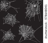 spider hand drawn net set.... | Shutterstock .eps vector #578648041
