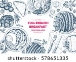 english breakfast top view... | Shutterstock .eps vector #578651335