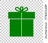 gift sign. dark green icon on...
