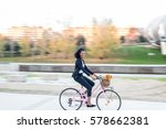 Business Black Woman Riding A...