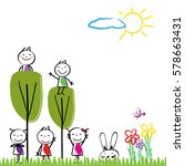 small and happy children are... | Shutterstock .eps vector #578663431