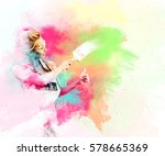 female worker paint a wall and...   Shutterstock . vector #578665369
