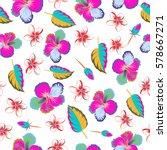 hibiscus flowers seamless... | Shutterstock . vector #578667271
