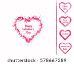 set of isolated grunge hearts... | Shutterstock .eps vector #578667289