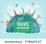 travel composition with famous... | Shutterstock .eps vector #578669137