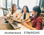 group of young asian women ... | Shutterstock . vector #578690245