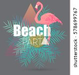 flamingo and tropical leaves...   Shutterstock .eps vector #578699767