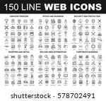 vector set of 150 flat line web ... | Shutterstock .eps vector #578702491