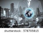 double exposure of businessman... | Shutterstock . vector #578705815