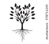 black tree with roots. vector... | Shutterstock .eps vector #578711245