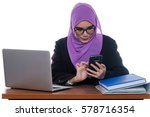 a pretty young muslim lady is... | Shutterstock . vector #578716354