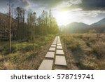 sunset in the woods corridor   Shutterstock . vector #578719741
