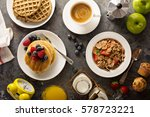 healthy breakfast on the table... | Shutterstock . vector #578723221