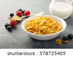 cornflake cereals in a bowl... | Shutterstock . vector #578725405