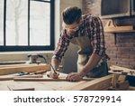 bearded handsome cabinetmaker... | Shutterstock . vector #578729914