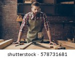 bearded handsome cabinetmaker... | Shutterstock . vector #578731681