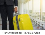 businessman and suitcase in the ... | Shutterstock . vector #578737285