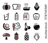 vegetables  fruit icon set | Shutterstock .eps vector #578745589