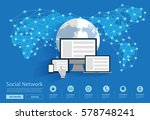 social network connecting all... | Shutterstock .eps vector #578748241