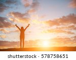 silhouette woman at sunset... | Shutterstock . vector #578758651