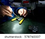 soldering electronic parts on... | Shutterstock . vector #578760337