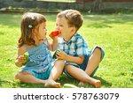 happy children outdoors in the... | Shutterstock . vector #578763079