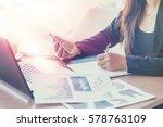 close up of woman hands using... | Shutterstock . vector #578763109