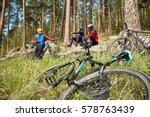 Group Of Cyclists On A Halt....