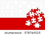 white puzzles pieces arranged... | Shutterstock .eps vector #578764525