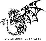 black dark flame master dragon... | Shutterstock .eps vector #578771695