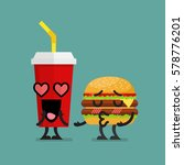 fast food fall in love. burger... | Shutterstock .eps vector #578776201