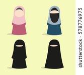 set of muslim girl icon in... | Shutterstock .eps vector #578776975