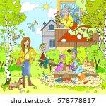 figure warm spring  summer day... | Shutterstock . vector #578778817