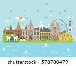 spain famous landmarks... | Shutterstock .eps vector #578780479