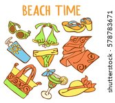 beach time. swimsuit  straw hat ... | Shutterstock .eps vector #578783671