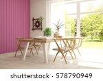 modern dinner room with green... | Shutterstock . vector #578790949