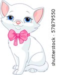 Stock vector illustration of very cute white cat with pink bow 57879550
