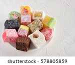 turkish delight on white rustic ... | Shutterstock . vector #578805859