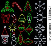 set of eighteen christmas icons ... | Shutterstock .eps vector #57880624