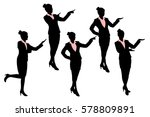silhouette of business woman... | Shutterstock .eps vector #578809891