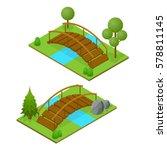 river bridge isometric view... | Shutterstock .eps vector #578811145
