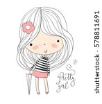 girl with umbrella.  | Shutterstock .eps vector #578811691