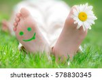 happy feet outdoors. kid having ...   Shutterstock . vector #578830345