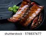 frying pan with roasted pork... | Shutterstock . vector #578837677