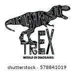 Trex Dinosaur Vector Hand Draw...
