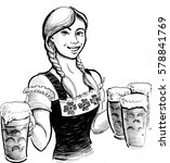 pretty girl with beer mugs | Shutterstock . vector #578841769