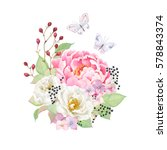 floral decor with flowers pink... | Shutterstock .eps vector #578843374